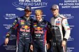 The Top Three Qualifiers : Mark Webber (Red Bull Racing), Sebastian Vettel (Red Bull Racing) and Nico Hülkenberg (Sauber F1 Team)