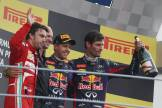 The Podium : Fernando Alonso (Scuderia Ferrari), Adrian Newey (Red Bull Racing), Sebastian Vettel (Red Bull Racing) and Mark Webber (Red Bull Racing)