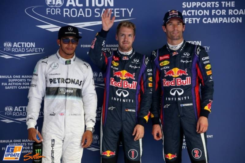 The Top Three Qualifiers : Second Place Lewis Hamilton (Mercedes AMG F1 Team), Pole Position Sebastian Vettel (Red Bull Racing) and Third Place Mark Webber (Red Bull Racing)