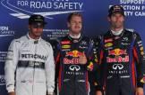 Lewis Hamilton (Mercedes AMG F1 Team), Sebastian Vettel (Red Bull Racing) and Mark Webber (Red Bull Racing)