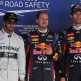 Lewis Hamilton (Mercedes AMG F1 Team), Sebastian Vettel (Red Bull Racing) and Mark Webber (Red Bull Racing)