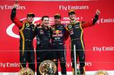 Kimi Räikkönen (Lotus F1 Team), Sebastian Vettel (Red Bull Racing) and Romain Grosjean (Lotus F1 Team)