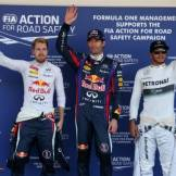 The Top Three Qualifiers : Second Place Sebastian Vettel (Red Bull Racing), Pole Position Mark Webber (Red Bull Racing) and Third Place Lewis Hamilton (Mercedes AMG F1 Team)