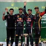 The Podium : Second Place Mark Webber (Red Bull Racing), Race Winner Sebastian Vettel (Red Bull Racing) and Third Place Romain Grosjean (Lotus F1 Team)