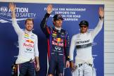 Sebastian Vettel (Red Bull Racing), Mark Webber (Red Bull Racing) and Lewis Hamilton (Mercedes AMG F1 Team)