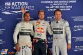 The Top Three Qualifiers : Third Place Lewis Hamilton (Mercedes AMG F1 Team), Pole Position Sebastian Vettel (Red Bull Racing) and Second Place Nico Rosberg (Mercedes AMG F1 Team)