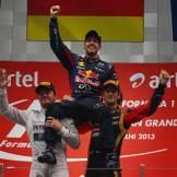 Sebastian Vettel (Red Bull Racing) celebrating his Fourth World Championship Title