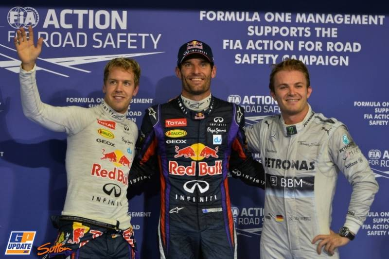 The Top Three Qualifiers : Second Place Sebastian Vettel (Red Bull Racing), Pole Position Mark Webber (Red Bull Racing) and Third Place Nico Rosberg (Mercedes AMG F1 Team)