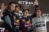 The Podium : Second Place Mark Webber (Red Bull Racing), Race Winner Sebastian Vettel (Red Bull Racing) and Third Place Nico Rosberg (Mercedes AMG F1 Team)