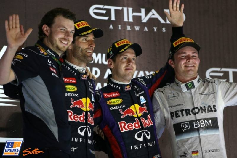 The Podium : Second Place Mark Webber (Red Bull Racing), Race Winner Sebastian Vettel (Red Bull Racing) and Third Place Nico Rosberg (Mercedes AMG F1 Team)