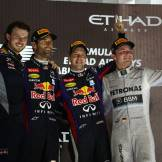 Mark Webber (Red Bull Racing), Sebastian Vettel (Red Bull Racing) and Nico Rosberg (Mercedes AMG F1 Team)