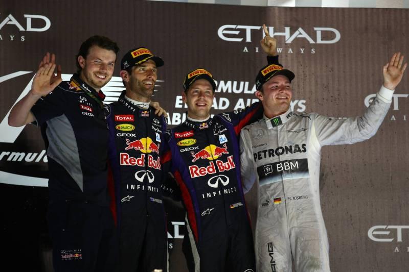 Mark Webber (Red Bull Racing), Sebastian Vettel (Red Bull Racing) and Nico Rosberg (Mercedes AMG F1 Team)