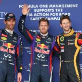 Mark Webber (Red Bull Racing), Sebastian Vettel (Red Bull Racing) and Romain Grosjean (Lotus F1 Team)