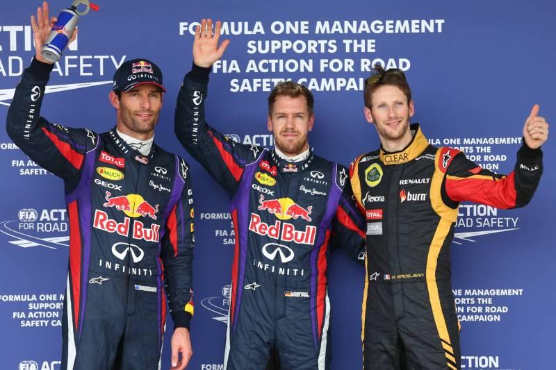 Mark Webber (Red Bull Racing), Sebastian Vettel (Red Bull Racing) and Romain Grosjean (Lotus F1 Team)
