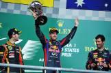 Romain Grosjean (Lotus F1 Team), Sebastian Vettel (Red Bull Racing) and Mark Webber (Red Bull Racing)