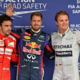 The Top Three Qualifiers : Third Place Fernando Alonso (Scuderia Ferrari), Pole Position Sebastian Vettel (Red Bull Racing) and Third Place Nico Rosberg (Mercedes AMG F1 Team)
