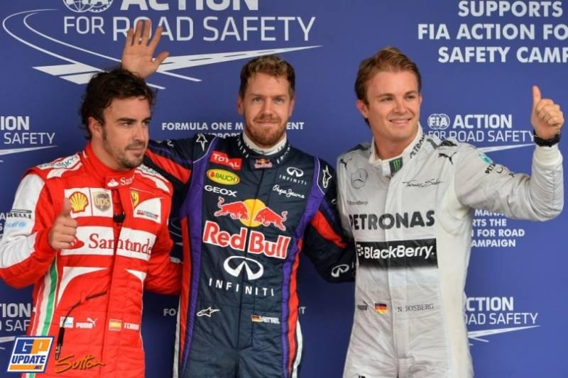 The Top Three Qualifiers : Third Place Fernando Alonso (Scuderia Ferrari), Pole Position Sebastian Vettel (Red Bull Racing) and Third Place Nico Rosberg (Mercedes AMG F1 Team)