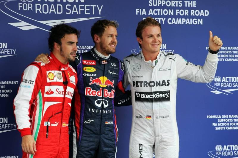 Fernando Alonso (Scuderia Ferrari), Sebastian Vettel (Red Bull Racing) and Nico Rosberg (Mercedes AMG F1 Team)