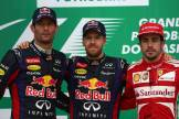 Mark Webber (Red Bull Racing), Sebastian Vettel (Red Bull Racing) and Fernando Alonso (Scuderia Ferrari)