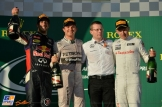 The Podium : Second Place Daniel Ricciardo, Race Winner Nico Rosberg and Third Place Kevin Magnussen