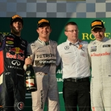 The Podium : Second Place Daniel Ricciardo, Race Winner Nico Rosberg and Third Place Kevin Magnussen