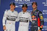 The Top Three Qualifiers : Third Place Nico Rosberg, Pole Position Lewis Hamilton and Third Place Kevin Magnussen