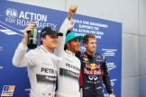 The Top Three Qualifiers : Third Place Nico Rosberg, Pole Position Lewis Hamilton and Second Place Sebastian Vettel