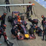 Pit stop for Sebastian Vettel (Red Bull Racing, RB10)