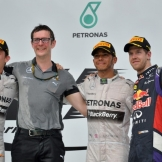 The Podium : Second Place Nico Rosberg, Race Winner Lewis Hamilton and Third Place Sebastian Vettel