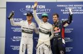 The Top Three Qualifiers : Third Place Nico Rosberg, Pole Position, Lewis Hamilton and Second Place, Sebastian Vettel