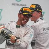 Lewis Hamilton and Nico Rosberg celebrating their double for Mercedes AMG F1 Team