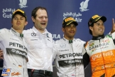 The Podium : Second Place Nico Rosberg, Race Winner Lewis Hamilton and Third Place Sergio Perez