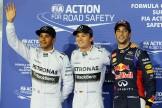 The Top Three Qualifiers : Second Place Lewis Hamilton, Pole Position Nico Rosberg and Third Place Daniel Ricciardo