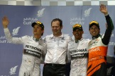 The Podium : Second Place Nico Rosberg, Race Winner Lewis Hamilton and Third Place Sergio Perez