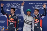 The Top Three Qualifiers : Second Place Daniel Ricciardo, Pole Position Lewis Hamilton and Third Place Sebastian Vettel