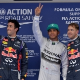 The Top Three Qualifiers : Second Place Daniel Ricciardo, Pole Position Lewis Hamilton and Third Place Sebastian Vettel