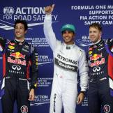 Daniel Ricciardo, Lewis Hamilton and Sebastian Vettel
