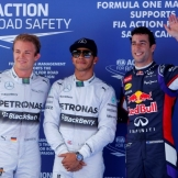 The Top Three Qualifiers : Second Place Nico Rosberg, Pole Position Lewis Hamilton and Third Place Daniel Ricciardo