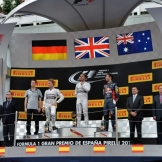 The Podium : Second Place Nico Rosberg, Race Winner Lewis Hamilton and Second Place Daniel Ricciardo
