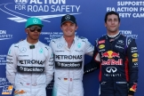 The Top Three Qualifiers : Second Place Lewis Hamilton, Pole Position Nico Rosberg and Third Place Daniel Ricciardo