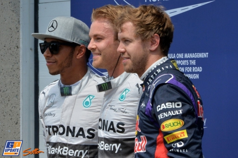 The Top Three Qualifiers : Third Place Sebastian Vettel, Pole Position Nico Rosberg and Second Place Lewis Hamilton
