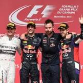 The Top Three Finishers : Second Place Nico Rosberg, Race Winner Daniel Ricciardo and Third Place Sebastian Vettel