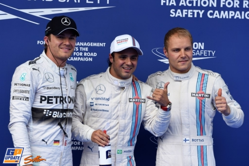 The Top Three Qualifiers : Third Place Nico Rosberg, Pole Position Felipe Massa and Second Place Valtteri Bottas
