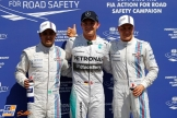 The Top Three Qualifiers : Third Place Felipe Massa, Pole Position Nico Rosberg and Second Place Valtteri Bottass