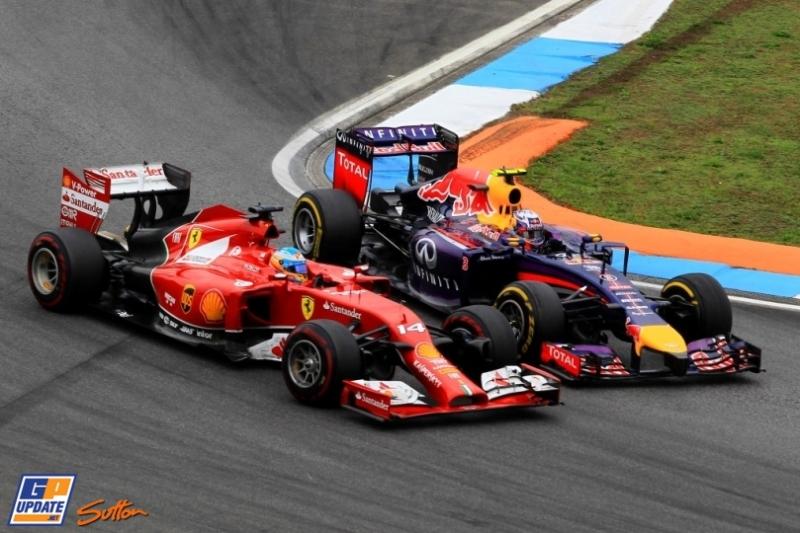 Fernando Alonso (Scuderia Ferrari, F14 T) and Sebastian Vettel (Red Bull Racing, RB10)