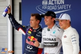 The Top Three Qualifiers : Second Place Sebastian Vettel, Pole Position Nico Rosberg and Third Place Valtteri Bottas