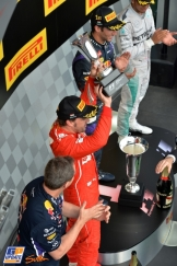 The Podium : Second Place Fernando Alonso, Race Winner Daniel Ricciardo and Third Place Lewis Hamilton