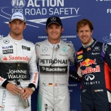 The Top Three Qualifiers : Third Place Jenson Button, Pole Position Nico Rosberg and Second Place Sebastian Vettel