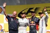 The Podium : Adrian Newey, Second Place Nico Rosberg, Race Winner, Daniel Ricciardo and Third Place Valtteri Bottas