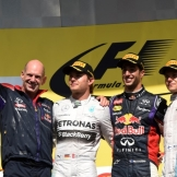 The Podium : Adrian Newey, Second Place Nico Rosberg, Race Winner, Daniel Ricciardo and Third Place Valtteri Bottas